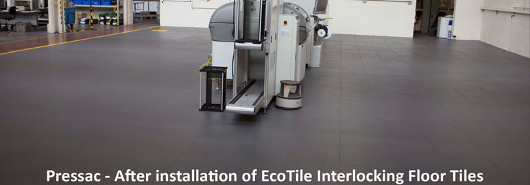 Pressac after installation of EcoTile interlocking floor tiles